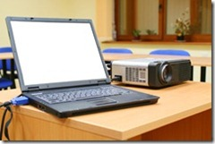 Projector and laptop
